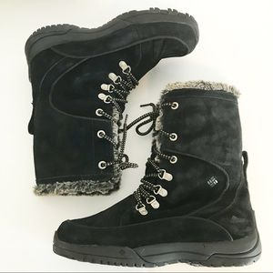 Columbia Omni Grip black suede winter snow boots